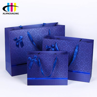Best Price Custom Foldable Packing Blue Valentine Paper Gift Cosmetic Shopping Bag