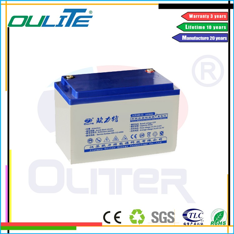Oliter 12v 80ah lead acid battery solar battery deep cycle batteries