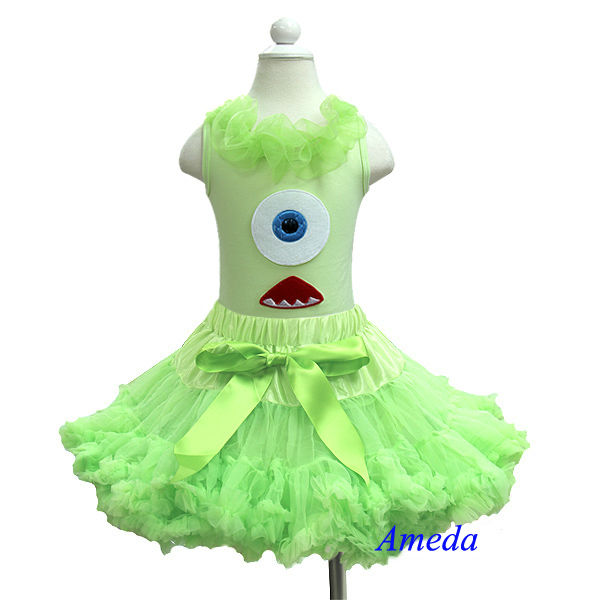 Halloween Lime Green Pettiskirt with Monster Lime Green Tank Top 1-7Y