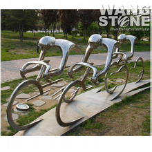 Modern Style Stainless Steel Bicycle Sculpture for Decoration