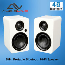Powered Stereo Bluetooth 4.0 Bookshelf Speaker with 1inch Tweeter and 4 inch Bass peaker for Home Wood Multimedia Audio System