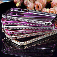 Luxury Plastic diamond electroplating Frame Bumpers Border Cases Cover shell for iPhone 4s