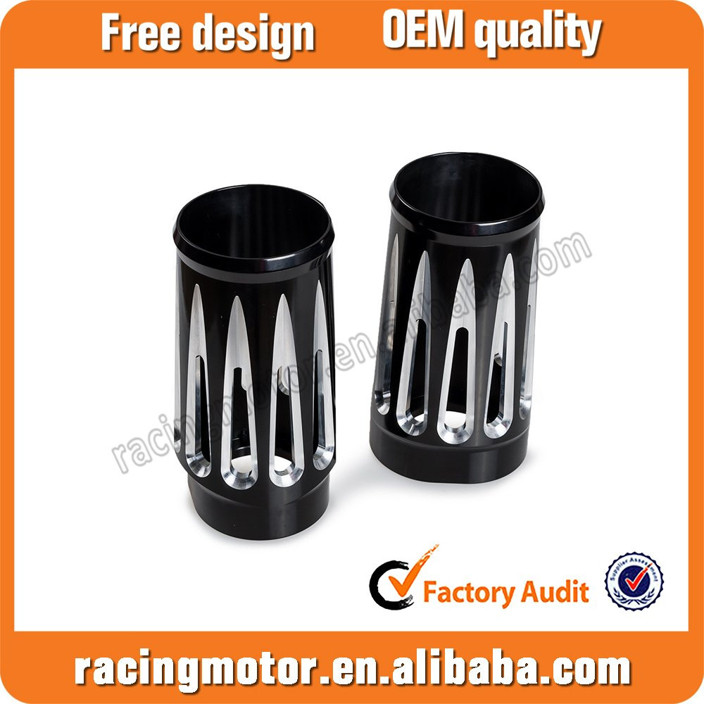 Black CNC Deep Cut Fork Boots Slider Cover For Harley Touring Models 1986-2013