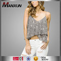Fashion Custom Sexy Summer Women Clothing Chiffon Casual Animal Printed Double Layer Cami Crop Top Sleeveless Tank Blouse