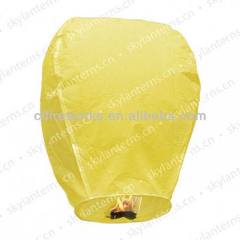 Yellow biodegradable sky lantern