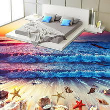 Manufacturer directly sell colorful your space theme bathroom wallpaper 3d floor wallpaper beach wave sunset 3d floor murals