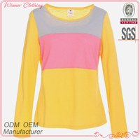 girl prefer multi color cheap sports t shirts in knit with long sleeve