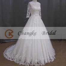 Appliqued Lace Wedding Dress Muslim Wedding Gowns With Long Sleeves