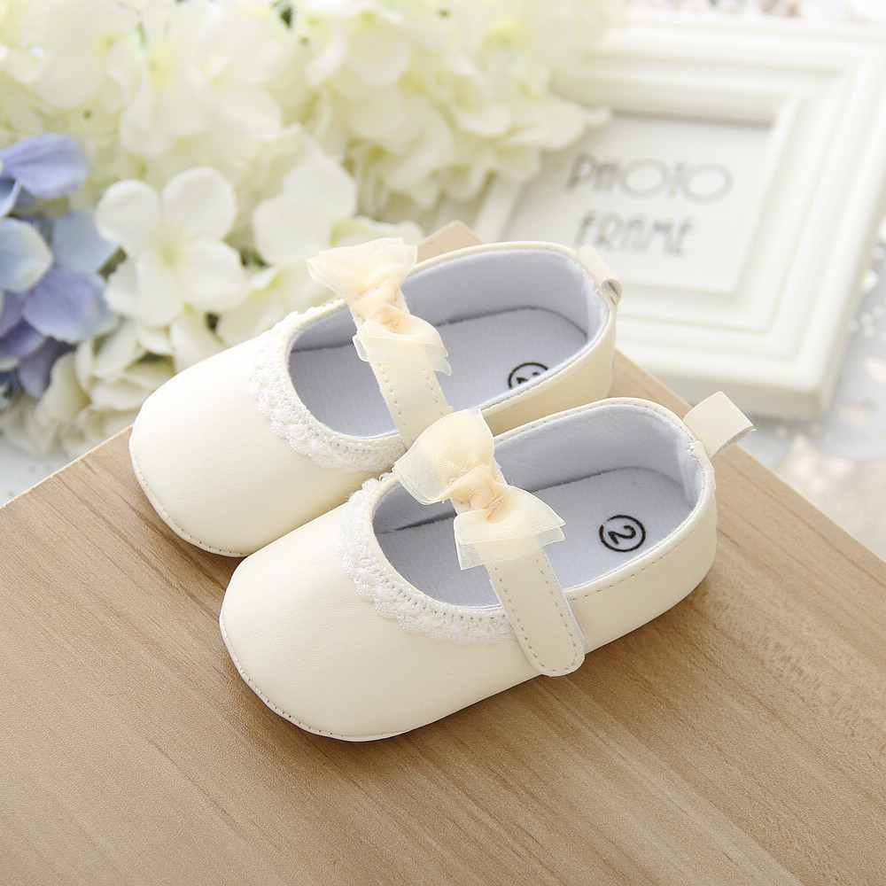 wholesale soft sole baby leather shoes yellow lace bow kids shoes baby