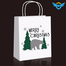 new design christmas white kraft paper bag with paper handle
