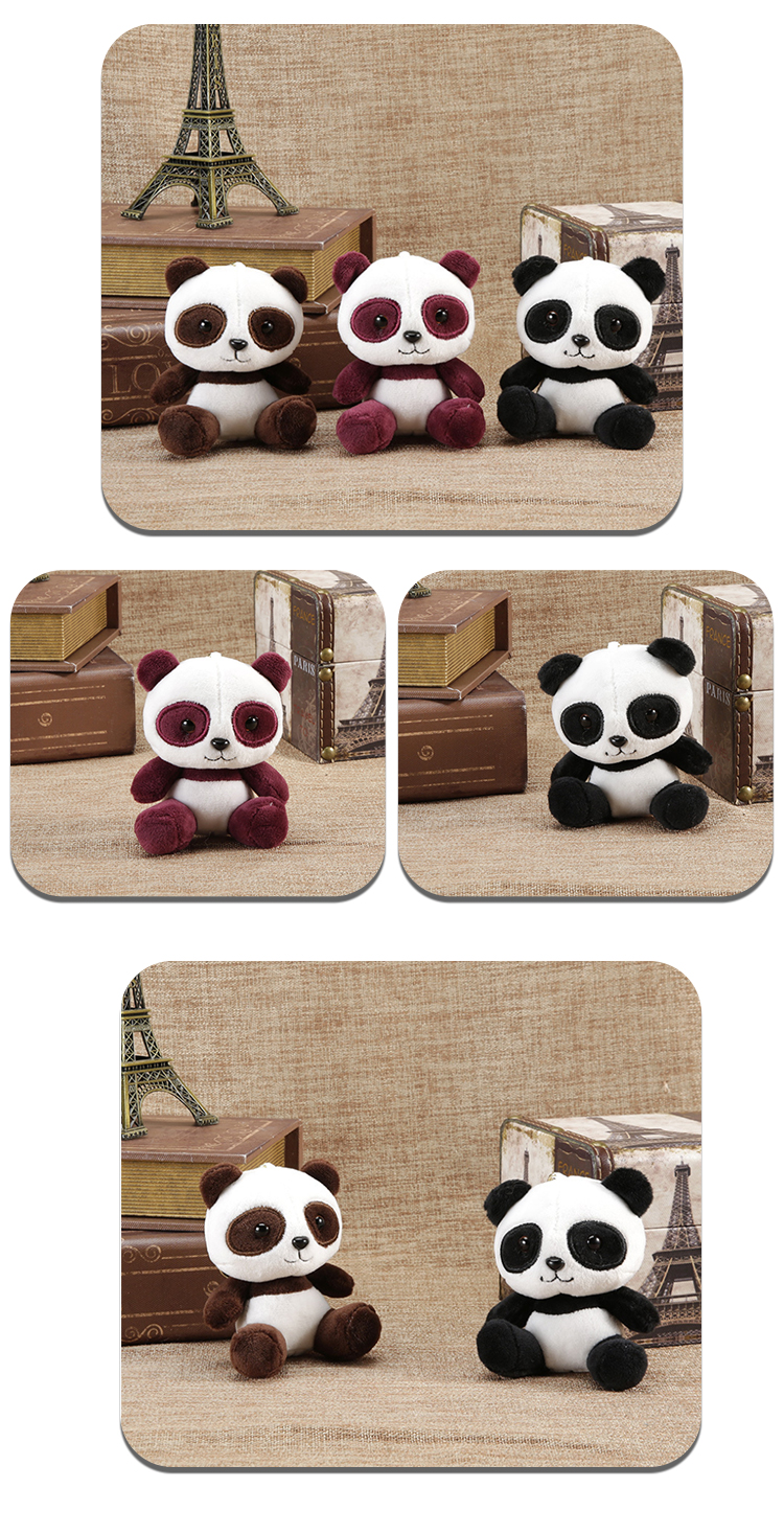 Custom cute super small plush soft toy animal panda plush keychain for backpack pendants