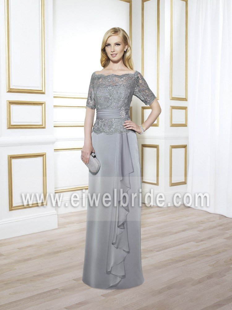 2015 Noble Bateau Lace Top Chiffon Silver Grey Mother Of The Bride Dress MB7414