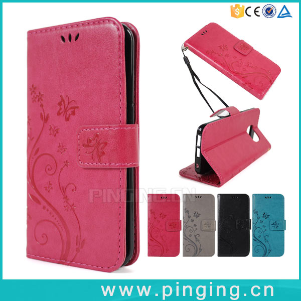 Hot Sale Embossed Pattern Leather Folio Case Cover For Sony Xperia X2 Card Slot Case