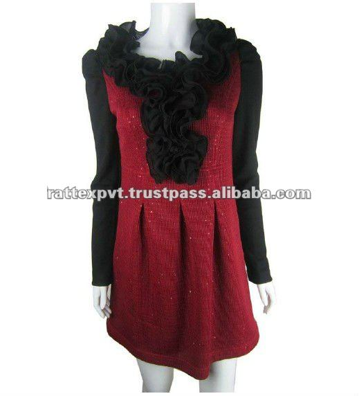 Lady Hot Polyster Shinning Casual Formal Dresses With Black Bold Flower On neck