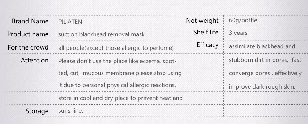 Pilaten English package Acne Blackhead Removal Deep Cleansing Tearing Mask Pilaten Blackhead Remover Face Mask Pore Cleanser