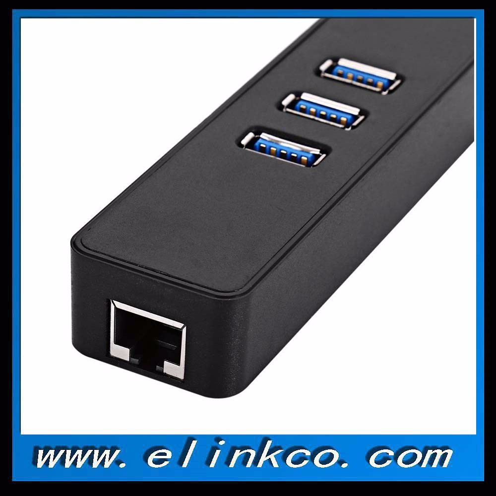 3 Ports USB 3.0 Gigabit Ethernet Lan RJ45 Network Adapter Hub to 1000Mbps For PC