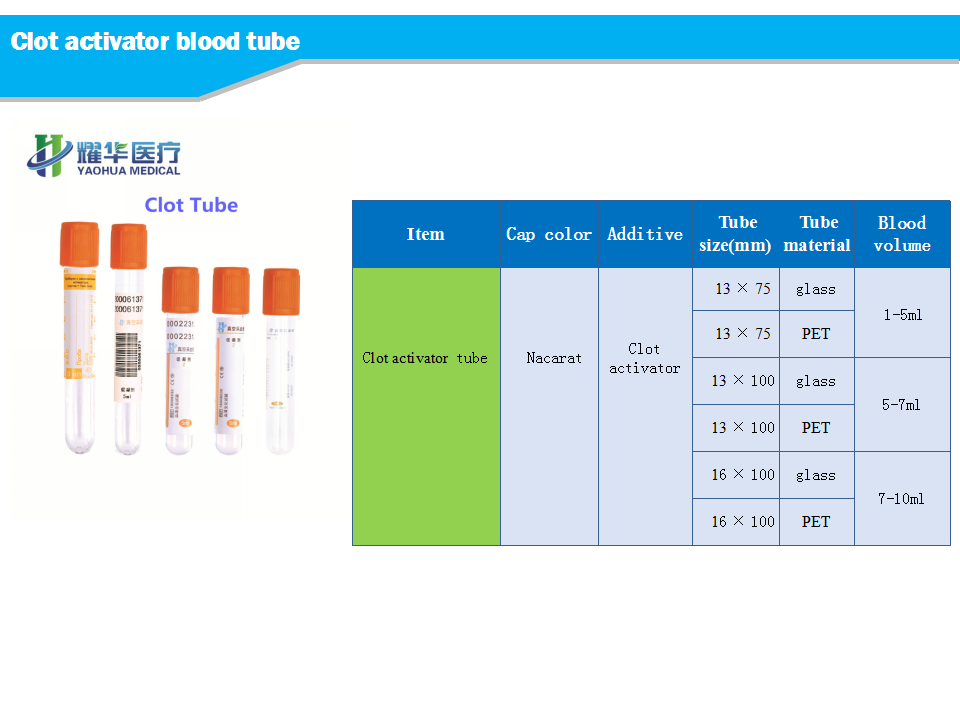 clot activator tube for blood collection with CE certificated 2-10ml, red cap