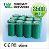 OEM nimh flat top battery 1.2V 3500mAh R14 Rechargeable NiMH flat top battery