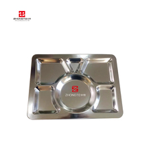 Large Fast Food Platter Stainless Steel Dinner <strong>Plates</strong> Serving Platter 6-grid Food Tray For Restaurant