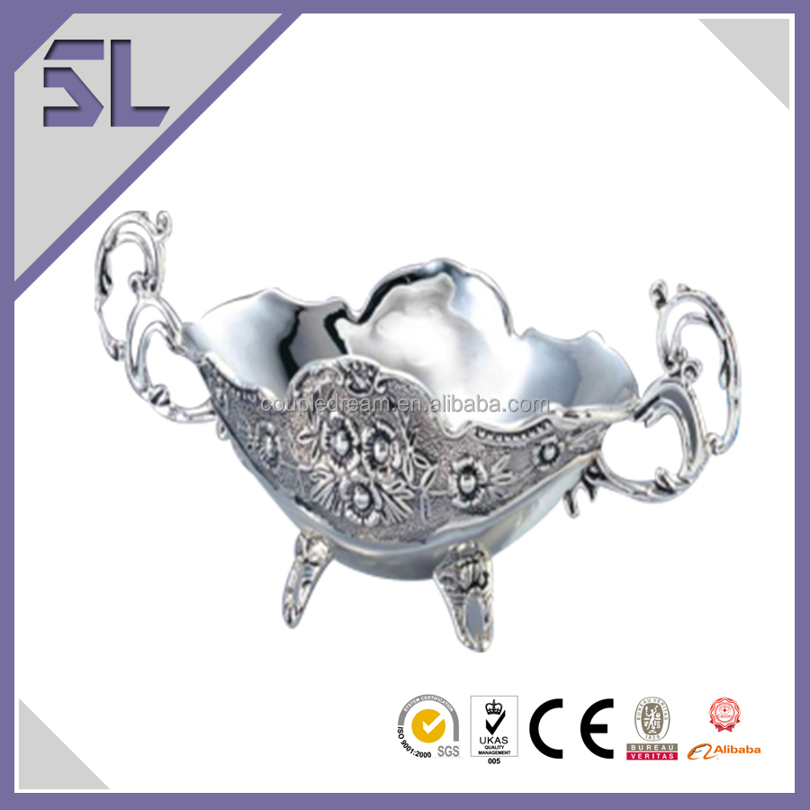 Exquisite Decoration Silver Plated Small Metal Fruit Tray For Wedding Table Decoration