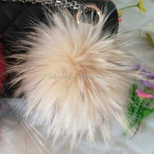 wholesale Real raccoon fur keychain animal fur keychain fur dog keychain