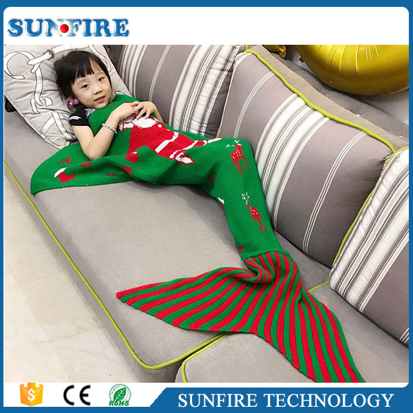 Children Fashion Santa Claus Knitted Mermaid Tail Blanket Super Soft Warm Christmas gift