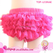 Hot Sale Solid Hot Pink Color Bow Lace Ruffles Kids Toddler Bloomers