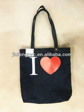 Fashion blue denim shopping bag tote bag with custom printing