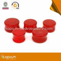 fancy red color pyrex glass custom ear gauges plugs