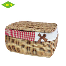 New Design No Handle Christmas Handmade Baskets Cheap Wholesale Rectangular Storage Wicker Basket With Liner