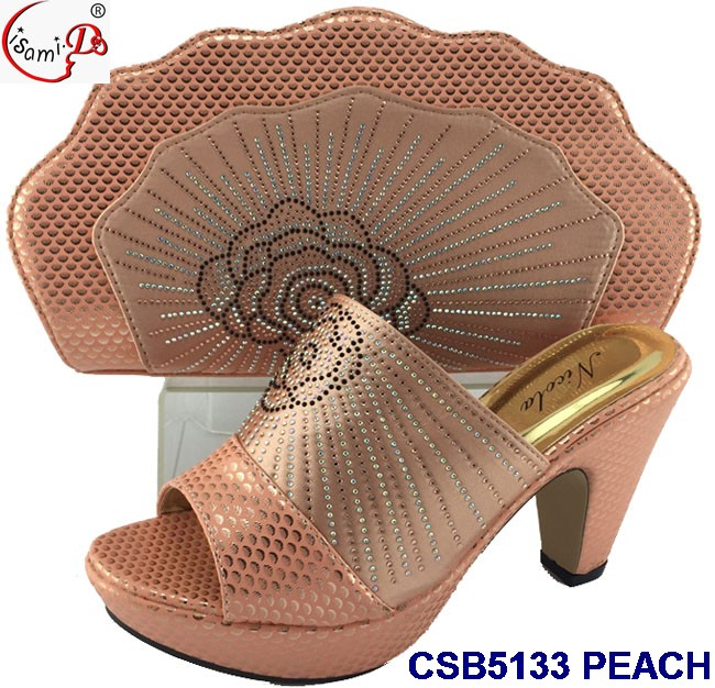 CSB5133 New arrival good quality evening shoes with matching bags for ladies party