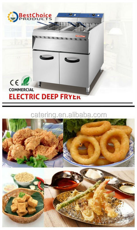 HEF-26-2 deluxe 2-tank 4-basket electric kitchen fryer with big cabinet inside