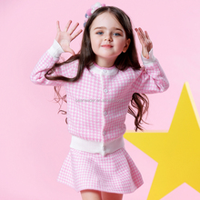 2017 Girls clothes New Houndstooth Knitted Suits Long Sleeve Plaid Jackets+Skits 2Pcs Girl Skirt Sets