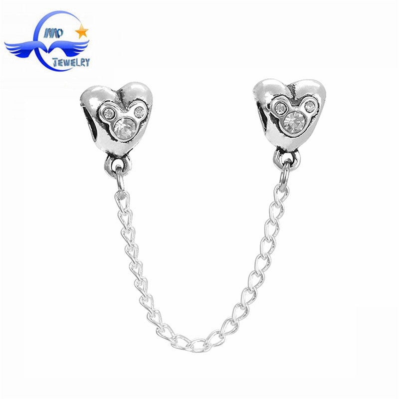 New Arrival Fashion Jewelry Clasp Mickey Mouse Crystal Safety Chain for European Charm Bracelet