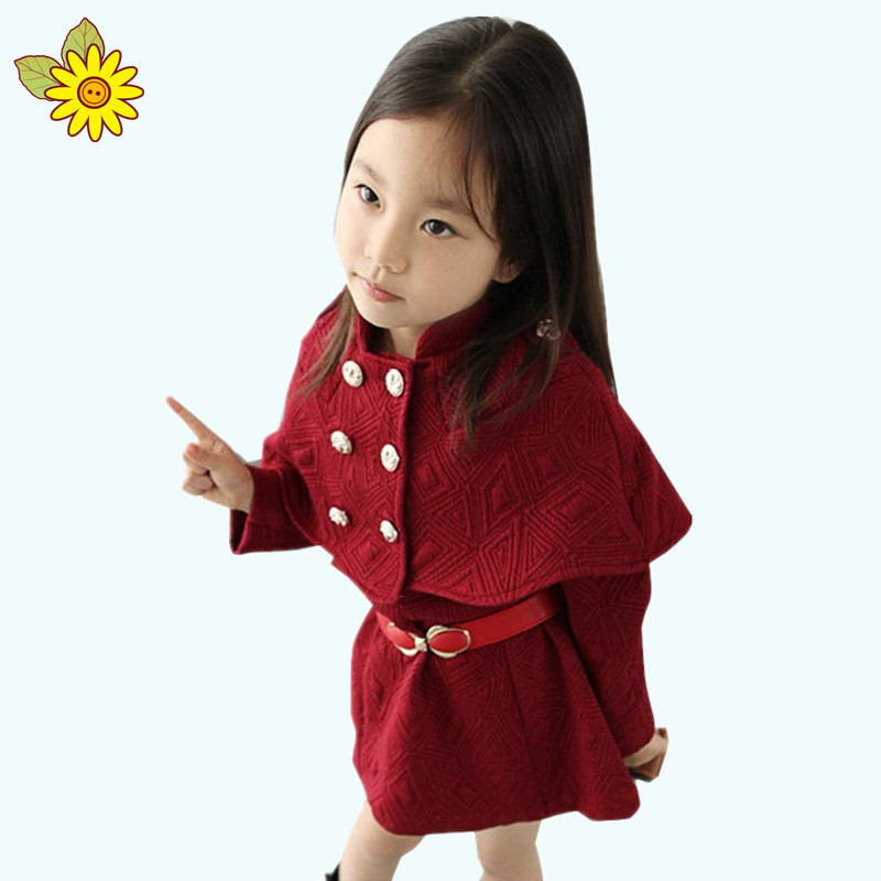 Shawl Girl Dress 2015 Cloak Belt Korean Princess Dress Girl Solid Cute Long Sleeve Fall Winter Kids Party Dresses For Girls