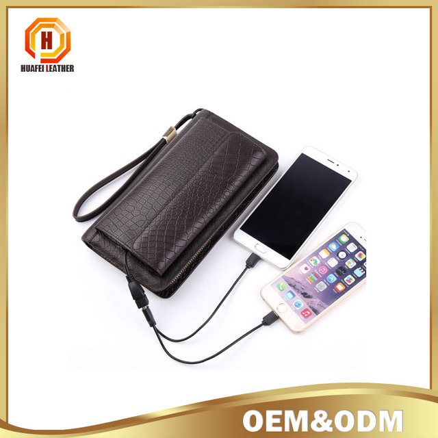 Leather solar energy rechargeable men clutch bag men leather wallet Multi-purpose wallet with rechargeable solar energy