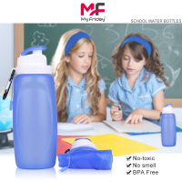 Portable non-toxic safety soft leak-proof bpa free silicone children water bottle with strap