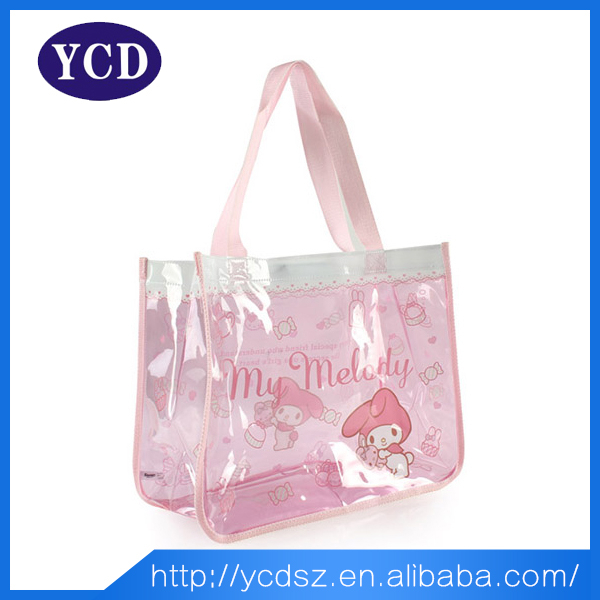 promotional pink beach transparent pvc shopping bag