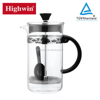 2016 special style borosilicate glass and heat resistant french press coffee plunger/coffee press with S/S screen
