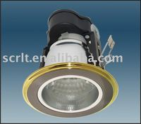 modern recessed retrofit downlights with brass rim and aluminum reflect cup