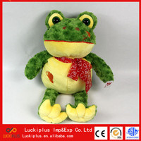 Luckiplus Cute Plush Doll Soft High Quality Frog With Red Bowknot For Boy and Girl