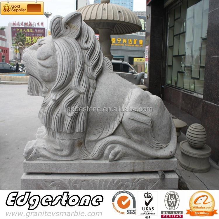 White Marble Lion Statues