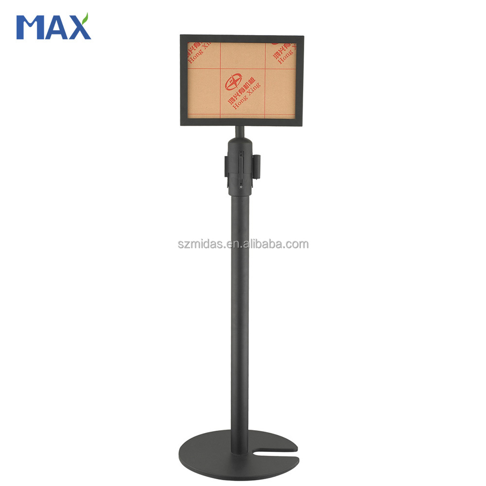 GZ MAX iron powder coated standing barrier posts with sign holders