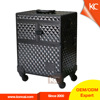 Professional train hair stylist aluminum trolley cosmetic case, abs aluminum trolley cosmetic box beauty case