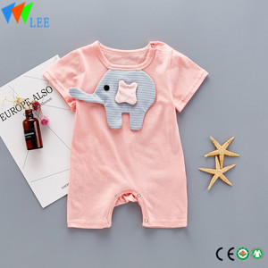 100% cotton O/neck baby short sleeve romper high quality applique baby elephant