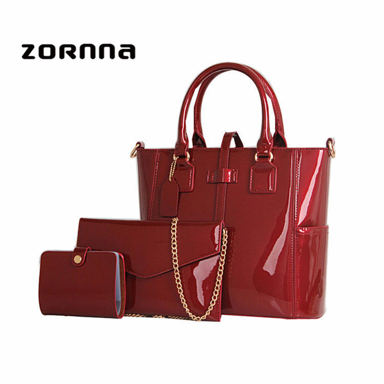 Patent handbag sets special luxury fashion guangzhou leather bags