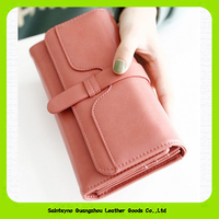 Plain pattern ladies leather purse Guangzhou manufacturer 15420