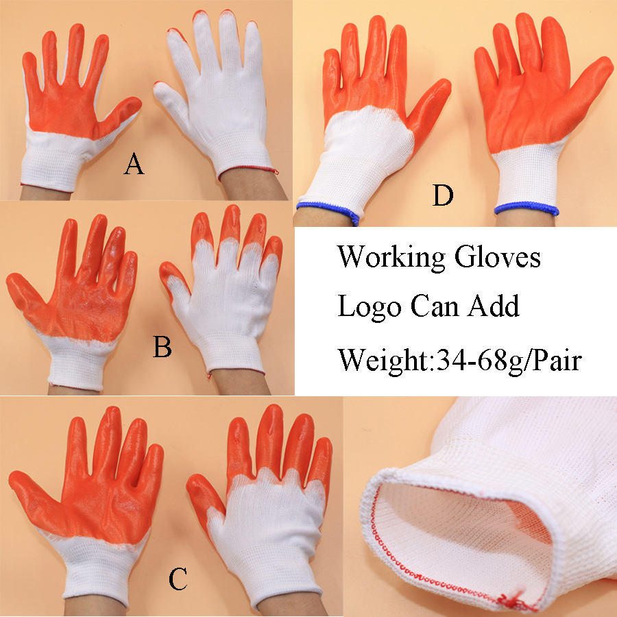 Wholesale Cheap safe cotton Nylon knitted latex PVC coated protective working gloves
