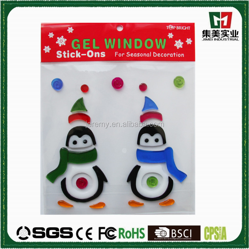 Penguin Jelly Gel Stickers, Gel Clings For Window or Cups