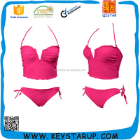 Hot Sale Girls Two Piece Swimwear Customized Pink Bikinis